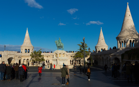 BUDAPEST, HUNGARY - OCTOBER 29, 2017: Fisherman Bastion, terrace in neo-Gothic and neo-Romanesque styles on Buda bank of Danube Editorial