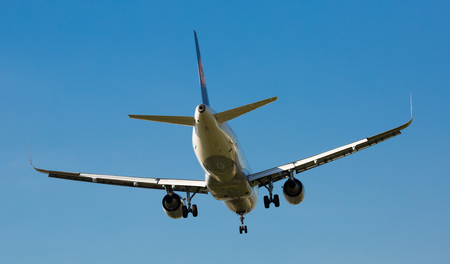 BARCELONA, SPAIN - MARCH 09, 2017:  Lufthansa Airlines plane landing in El Prat Airport on time. Barcelona, Spain
