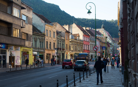 BRASOV, ROMANIA - SEPTEMBER 18, 2017: Picturesque cityscape of Brasov streets, Romania Editorial
