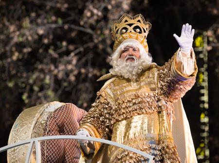 BARCELONA, SPAIN – JANUARY 5, 2017:  Grand parade to celebrate traditional arrival of Three Magi. Barcelona, Spain Editorial