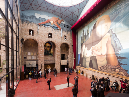 FIGUERES, SPAIN - JANUARY 03, 2016: Hall with Curtain for labyrinth in The Dali Theatre and Museum (Teatre-Museu Dali), Catalonia