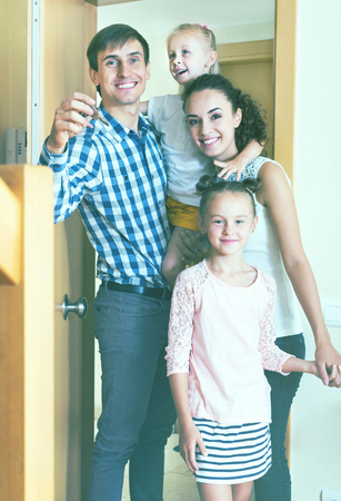 Ordinary middle class family moving in they new house Stock Photo