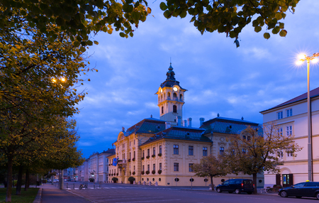 Image of City Hall in light of hungarian city Szeged outdoors.