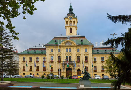 View on City Hall in hungarian city Szeged outdoors.