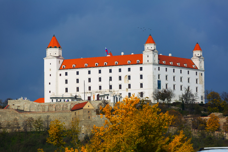 Image of night light of Bratislava Castle in Slovakia.