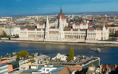 Parlament in Budapest is hungarian landmark outdoors.
