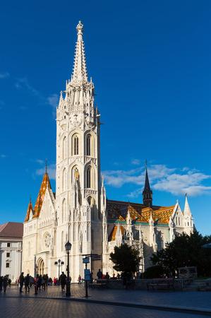 Lush Gothic architecture of Matthias Church on Buda hill, Hungary