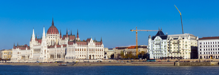 Photo of colorful Parlament in Budapest in Hungary outdoor.