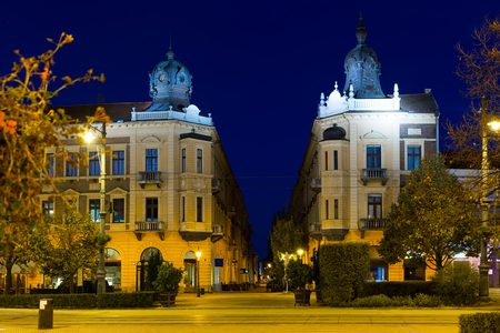 Debrecen central streets with impressive architecture at night, Hungary  Stock Photo