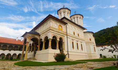 Monastery Horezu is architectural landmark outdoors. Stock Photo