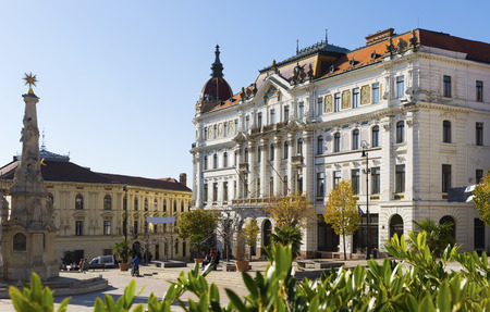 View of County Hall of Baranya on main square of hungarian city Pecs