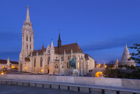 View of Matthias Church on Fisherman Bastion Square in twilight, Budapest, Hungary