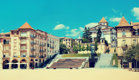 View of main square of Fra Bernadi of Manlleu in sunny summer day