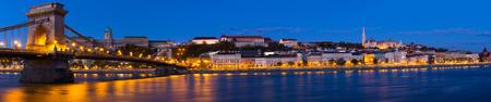 Photo of night Chain Bridge near Buda Fortress in Hungary outdoor.