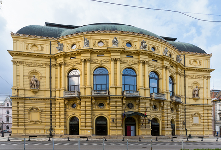 Image of National Theatre of hungarian city Szeged outdoors.