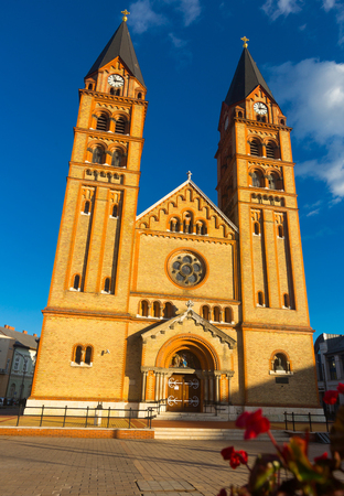 Image of Cathedral of hungarian city Nyiregyhaza outdoors. Archivio Fotografico