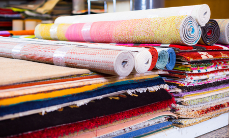 diversity of colour carpets in the store for home decor