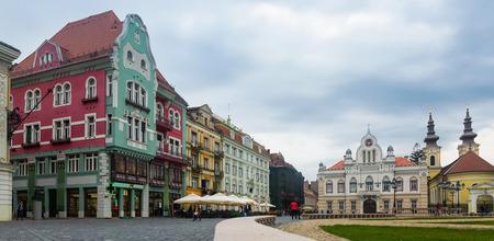 Picturesque colored architecture of Unirii Square in romanian town Timisoara