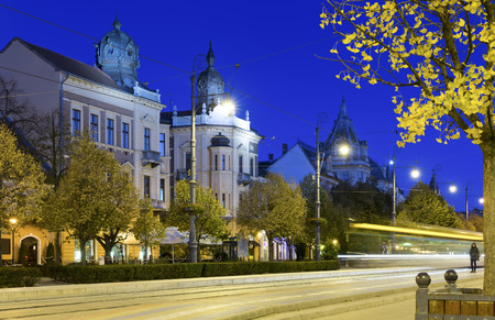 Twilight image with Debrecen streets with impressive architecture, Hungary Stock Photo
