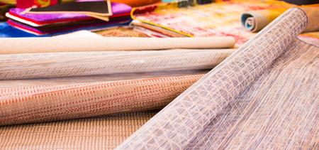 Image of  wicker organic bamboo carpets at interior shop