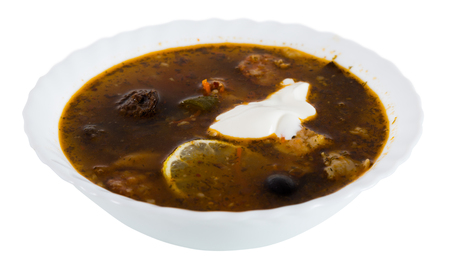 Isolated on white background plate with tasty soup Stockfoto