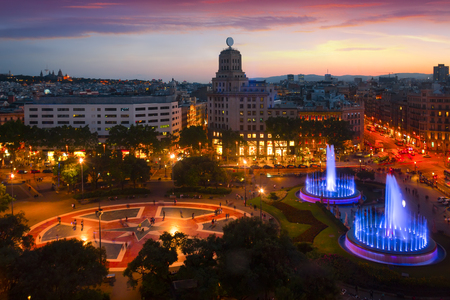 Night lights of the Placa de Catalonia in Barcelona. Reklamní fotografie