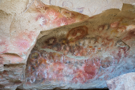 Renowned caves Cueva de las Manos with paintings of hands in Argentina