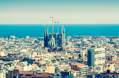 Top view of Barcelona and Mediterranean. Catalonia, Spain Editorial