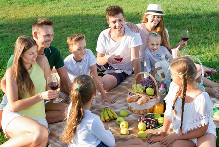 Portrait of glad cheerful positive smiling parents with children on picnic in nature at summer