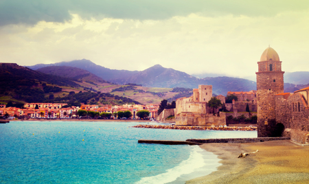 Small and picturesque French village of Collioure on Mediterranean coast Stock Photo