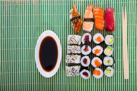 Dinner with sushi set on table at Japanese restaurant