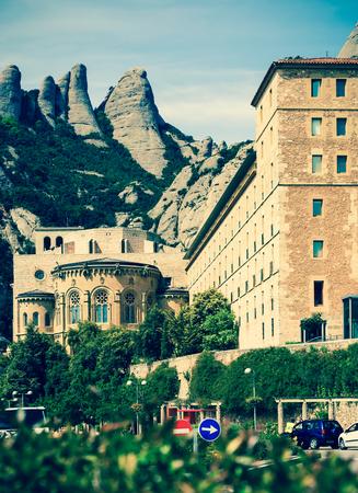 Montserrat monastery in spring. Barcelona, Catalonia Stock Photo