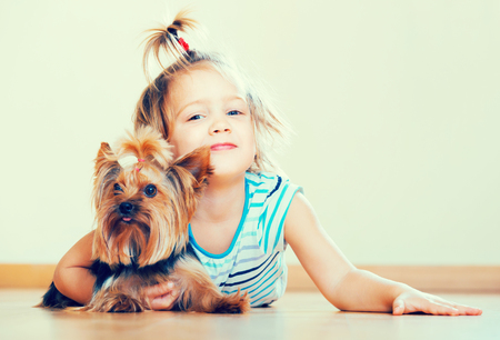 Happy cute little girl playing with Yorkshire Terrier on the floor and smiling