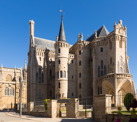 Episcopal Palace of Astorga in summer.  Spain