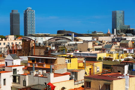 Sunny view to skyscrapers from the historic district of Born.  Barcelona, Spain Stock Photo
