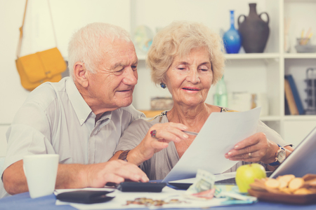 Portrait of happy senior spouses with bills and laptop while sitting at table at home Stock Photo