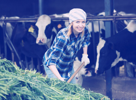 Young female worker collecting grass with pitchfork in barn