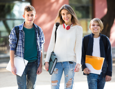 Teens Going To School With Papers For Study Stock Photo Picture And