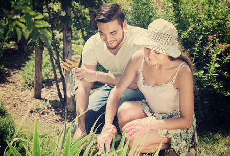 Young married couple seedling garden flowers  in summer holiday Stock Photo