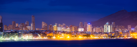 view of Benidorm seaside in night. Spain Stock Photo