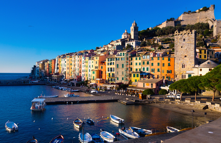 Fortified city of Portovenere on extreme southern peninsula of La Spezia Bay, Italy