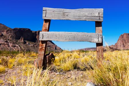 Wooden signboard in  wild west Stock Photo