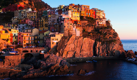 Small picturesque Italian town of Manarola in evening time