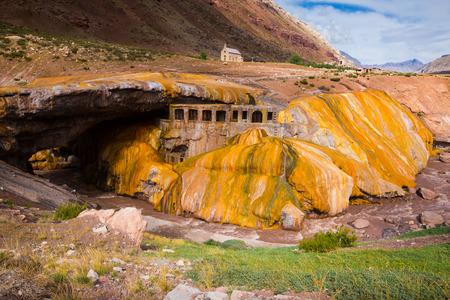 Bridge Inca (Puente del Inca) bridge of natural origin across river Mendoza, Argentina, Patagonia