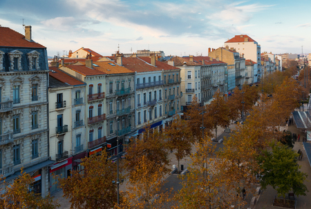 Aerial view of central boulevard of French town of Valence 스톡 콘텐츠