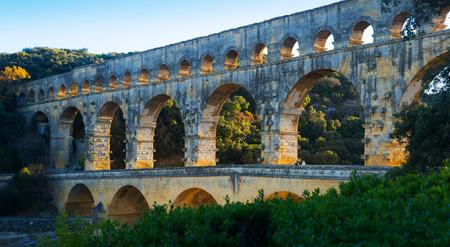 Image of famous landmark Roman Bridge Pont du Gard in southern France