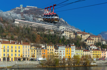 Image  of aerial view of Grenoble with French Alps and cable car, France
