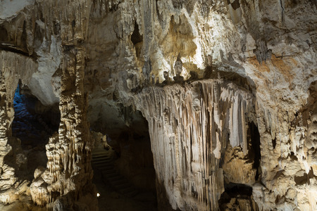 Interior view of Grotte des Demoiselles, large cave in Herault valley of southern France