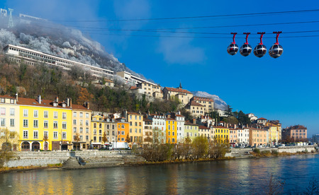 Aerial view of Grenoble with French Alps and cable car, France