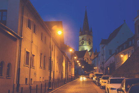 Image of Cathedral on night strrets of Sibiu in Romania.